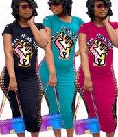 BLACK MATTER lettres Imprimer VIES cassé trou manches courtes T-shirt Robe moulante Femmes Robes Slim Sexy One Piece Jupes Robe New D71401
