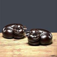 Ebony Wood Carving Arti e Mestieri Ornamenti Una coppia di Lucky Pigs Mini sveglie Pigs 12 * 5 * 8cm Dimensioni