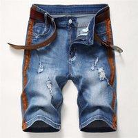 High Street Vêtements Hommes Shorts Trou droit rayé Été homme longueur au genou Lumière Washed Demin Court Hommes Mode