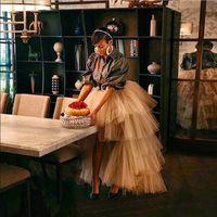 Шампанское высокое низкое пухлые многоуровневые юбки для женщин асимметричная юбка TUTU 2020 тюль юбка длиной Faldas Saia