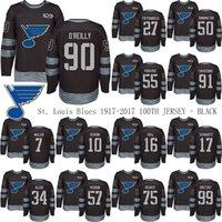 St. Louis Blues 1917-2017 100 ° anniversario nero 91 Vladimir Tarasenko 90 Ryan O'Reilly 50 Jordan Binnington 7 Maroon Hockey Jerseys