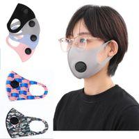 DHL SHIP Gesichtsmaske Mundmaske Erwachsene mit Ventilabdeckung PM2.5 Respirator Staubdichtes Antistaub Waschbar Wiederverwendbare Ice Silk Cotton Masken
