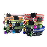 12 kleur reflecterende kat halsbanden veiligheid gesp kraag bellat kraag instelbare 19-32 cm kat hondenkraag XD23703