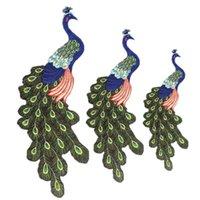 10 piezas transfronterizos pegatinas parche parches de tela traje de pavo real bordado de hilo de oro padre-hijo tela de tamaño apliques decorativos de ropa