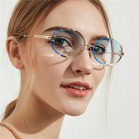 2020Wholesale ovale Gradienten rimless schneid Sonnenbrille eleglant weibliche UV400 HD-Linsen Sonnenbrille 60-15-150 Voll Satz Fall Freeshipping