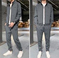 Herren Designer Tracksuits Plus Size Frühling und Herbst dünne lange Hülsen-Männer zwei Stücke Satz-beiläufige Solid Color Sport 2ST Suits