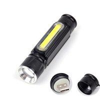 المحمولة T6 + COB LED التكتيكية، 3 طرق زوومابلي شعلة مصباح، USB قابلة للشحن فلاش ضوء العمل مع الذيل مغناطيس
