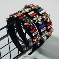 Ins Baroque High-End Flanel Rhinestone Super-Flash Hair Band Vrouwelijke Mode Catwalk Hoofdband