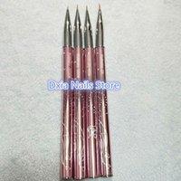 Werkzeug 2020 New Nails 0 # 00 # 000 # 0000 4pcs / set 100% Pure Kolinsky Sable Pinsel Nail Art Liner Pinsel Rosa Metall Griff Anstrich-Feder-CX200717