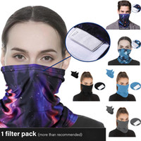유니섹스 디지털 인쇄 원활한 Headscarf 파티 마스크 땀 흡수성 Bib 손목 밴드 마술 두건 아이 및 어른 PM2.5 필터 마스크