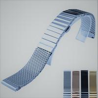 Kalp atışı Moda Koleksiyonu Milanese Mesh Kayış Portofino Katı Paslanmaz Çelik Kayış Çift Basın Kelebek toka 18 20 22 24mm