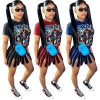 Летнее платье 2020 Новый горячий продажи в Европе и Urban Casual Sexy Америки мода платье Женской Offset Мультфильм Наклейка 3 Цвет платья