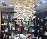 Personalizzabile Bencher Semplice Moda creativa di ceramica bianca della lampada Pesce Dinning Room Lampadari illuminazione della decorazione Lampade a sospensione