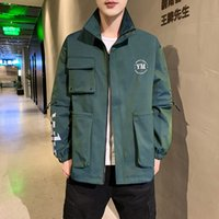 Mens Letter Pocket Cargo Coats Spring Autumn Stand Neck Men ...