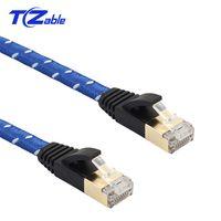 고양이 7 이더넷 케이블 플랫 와이어 브레이드 LAN 케이블 UTP RJ 45 네트워크 케이블 RJ45 10Gbps의 대역폭 600MHz의 모뎀 라우터 노트북에 대한