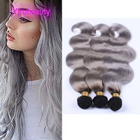 Peruviano BlackGrey due toni di colore 4 Bundles capelli dell'onda del corpo delle trame 100% estensioni dei capelli umani 10-26inch dell'onda del corpo di Yirubeauty