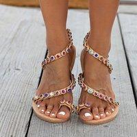 Сиддонс Богемия Стиль лета женщин Квартиры сандалии Роскошные Кристалл Дизайнерская обувь Ladies Beach сандалии скольжению на Sandalias Mujer 2020
