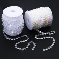 30m Düğün Dekorasyon Sekizgen Akrilik Kristal Boncuk Perde yanardöner Garland Strand Işıltılı Perdeler Parti Dekorasyon 2color