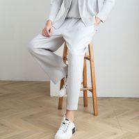 erkekler rahat düz pantolon harem sonbahar trendi pantolon erkek uzun pileli gündelik pantolon çalışan gevşek dokuz puan katlamak Miyake
