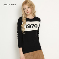 Women 1970 letter pullover Long Sleeve Sweater hot fashion s...