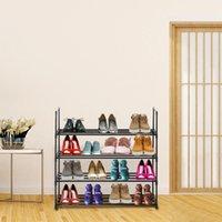 من السهل أن shemble المربع المنزلية شفافة منظم تخزين رفوف 4 طبقات الحذاء رف الأحذية برج الرف