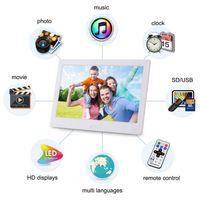 cadres photo numériques écran LED cadre à distance image musique vidéo de contrôle 10 pouces affichage de l'horloge de calendrier