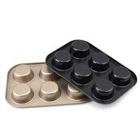أدوات مقاومة للحرارة الكعك عموم الثقيلة الكربون الصلب غير عصا 6 كأس كب كيك قالب الخبز المقالي خبز الذهب / أسود JK2007KD