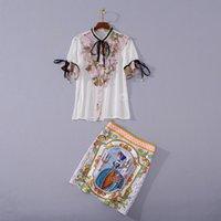 710 2020 Sonbahar Ücretsiz Kargo Kazak Kısa Kollu Boncuk Ekip Boyun Haki Moda Bayan Giyim Kadın İki Parçalı Setleri