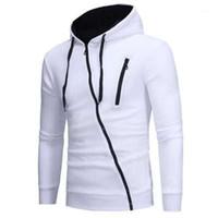 Pull Homme Nouveau manches longues Sweat-shirts Vêtements de sport Diagonale Zipper Homme Hoodies Mode Slim Cardigan capuche Casual