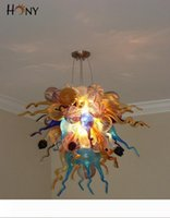 Free Shipping 110v 120v 220v 240v CE UL Showroom Lamp Hand Blown Glass Ceiling Mounted Chandelier