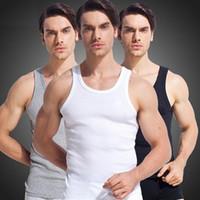 Al por mayor del 100% de algodón para hombres tanque de alta calidad superior del chaleco sin mangas delgado masculino Undershirt culturismo aptitud singlete camisetas sin mangas simple