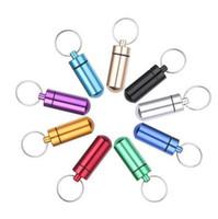 HOT Qualitäts-bewegliche Wasserdichtes Mini-Blau Aluminiumpille-Kasten Medizin-Behälter Keychain Tablet-Aufbewahrungsbehälter Flasche Fall Halter 05