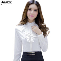 Naviu alta qualità Camicetta bianca femminile di modo manicotto pieno Camicia Casual Elegante collare increspato Office Lady Tops Women Wear