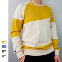 Contrast Color Patchwork Mens Sweatshirts Casual O- neck Long...