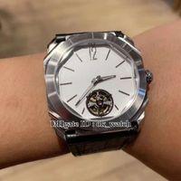Alta Qualidade Octo 102.138 de homens relógio automático Branco Dial pulseira de couro preto prata caso relógios esportivos Tourbillon New Gents