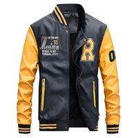 Les hommes de baseball Veste en cuir brodé Pu Coats Slim Fit College Toison de luxe Pilot Vestes Collar Stand hommes Top Veste Manteau de CX200801