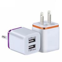 5V 2.1 + 1A Doppia USB AC Viaggi USA Caricatore da parete UE Plug Dual Charger per Smart Phone Adattatore di alimentazione Phnom Penh Plating Carica