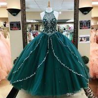 Hunter Verde in rilievo Abito di sfera Quinceanera paillettes gioiello del collo del partito di promenade Tiered Sweet 16 vestito da spettacolo