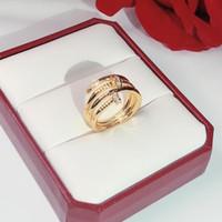 العلامات التجارية الساخنة المسمار الأظافر الموضة خواتم الذهب المرأة الحرة الشحن الشرير لأفضل الهدايا الفاخرة أعلى جودة المجوهرات ثلاثة دائرة الطوق