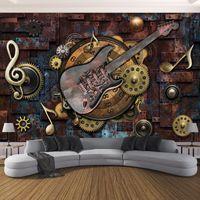 La foto de encargo del papel pintado para las paredes del fondo 3D retro de la guitarra notas musicales KTV bar restaurante de pared del café de papel mural de la pared del arte 3D
