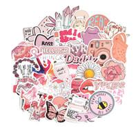 -De-rosa dos desenhos animados 50PCS INS Estilo VSCO menina adesivos para Laptop Moto Skate bagagem Frigorífico Notebook Laptop Toy etiqueta