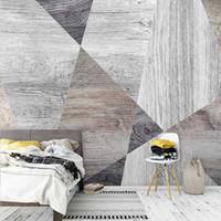 사용자 정의 3D 배경 화면 현대 빈티지 판자 우드 그레인 기하학 사진 벽 벽화 거실 TV 침실 창조적 인 예술 벽 종이 3D