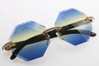 Obiettivo di vetro di moda 4189706 originale bianco nero corno di bufalo occhiali da sole di alta qualità degli occhiali da sole grandi pietre di metallo Occhiali da sole C Decoration go