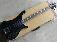 Livraison gratuite (mat) Noir 4 cordes 4003 Ricken Guitare de basse électrique avec quincaillerie noire, matériel chromé, manche en palissandre