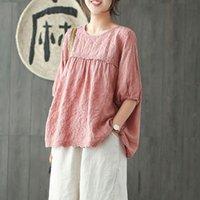 T-shirt das mulheres Johnature Mulheres Bordado floral t - shirts Vintage cor sólida lanterna manga 2021 verão casual panos de linho de algodão