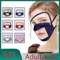 Máscara de algodão Dustproof Boca Face Com Com Limpar janela visível lavável Eye escudo à prova de vento e uma máscara reutilizável para adultos e crianças FY9150