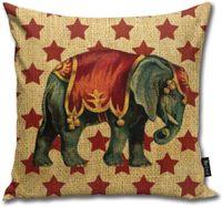 Yıldızları BAKKAL Vintage Sirk Fil Yastık Vücut Yastık Yastık Standart 18inch × 18inch = 45cm x 45cm Kare Yastık Dekorasyon atın