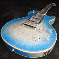 Custom Poker Gezicht Ace Fehley Signature Big Sparkle Metallic Blue Burst Silver Electric Guitar 3 Pickups, Spiegel Truss Rod Cover