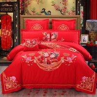 100% coton Luxe de mariage Chinois Literie Ensemble de couverture de couette à broder Set de lit de lit Taie d'oreiller Queen King taille 4/6 / 8 / 10pcs