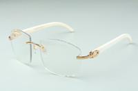 ventas directas de la lente de corte fotocrómico de alta gama más nuevo gafas de sol de palos 4189706-A blanco búfalo natural del cuerno, tamaño: 58-18-140mm